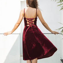 Velvet Strap Halter Evening Dress