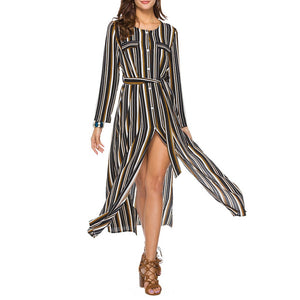 Striped Split Shirt Vacation Dress