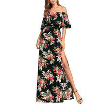 Slim Sexy Cutaway Shoulder Printed Split Vacation Dress