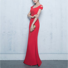 Cutaway Collar Fish Tail Slim Sexy Package Hip Evening Dress