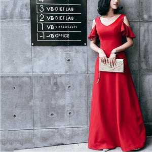 V-Collar Long Sexy Slim Evening Dress