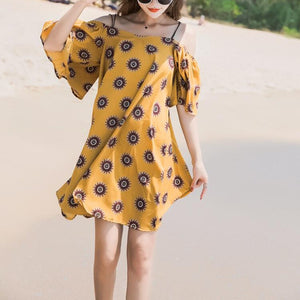 Sling Was Thin Cutaway Collar Printed Vacation Dress