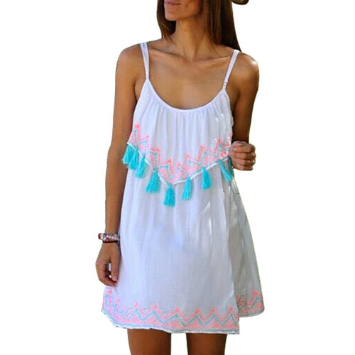 Sleeveless Tassel Casual Beach Vacation Dress