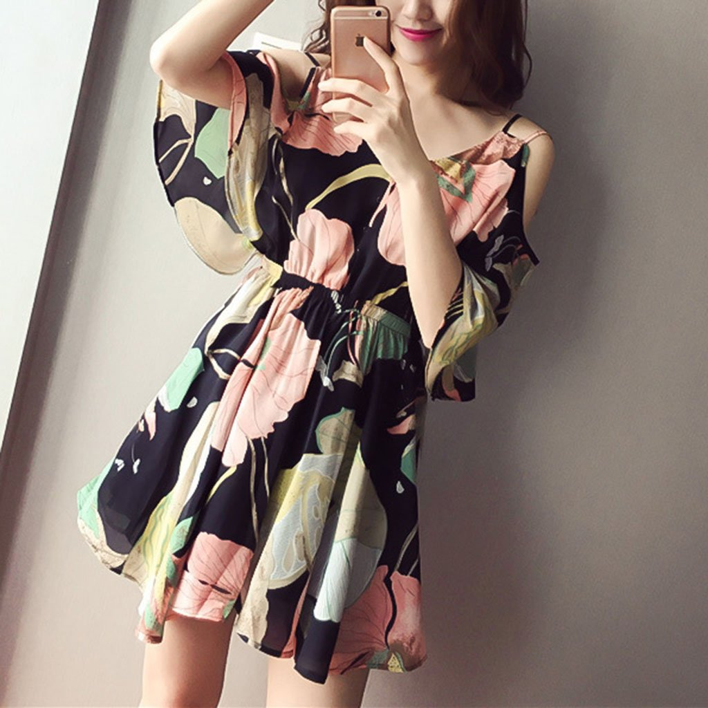 V Collar Strap Off Shoulder Printed Flounced Chiffon Vacation Dress
