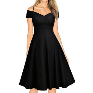 Slim Cutaway Collar Off Shoulder Expansion Skater Dress