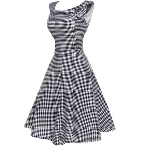 Vintage Slim Plaid Expansion Skater Dress