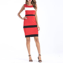 Wide Stripes Slim Sleeveless Package Hip Bodycon Dress