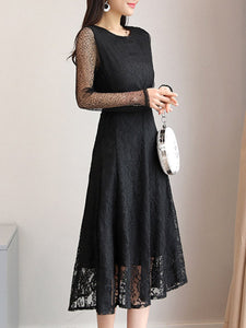 Round Neck  Plain  Lace Maxi Dress