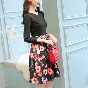 Printed Stitching Round Collar Long-Sleeved Expansion Skater Dress