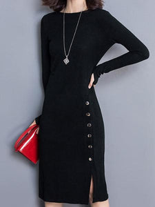 Ladies New Knit Long-Sleeved Large Yards Hip Bottoming Dress