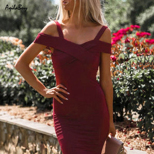 Sexy V Collar Off-Shoulder Bodycon Dress