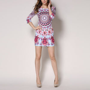 Sexy Retro Printed Round Collar Bodycon Dress