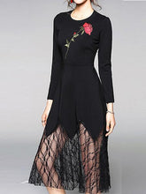 Ladies New Round Neck Lace Stitching Perspective Long Dress