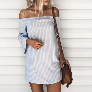 Sexy Strapless Collar Off-Shoulder Stripe Splicing Vacation Dress