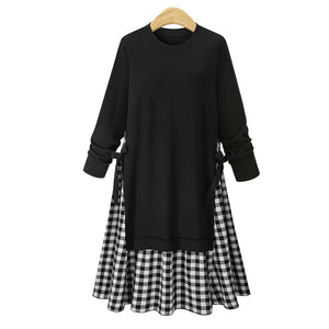 Large Size Round Collar Plaid Stitching Long-Sleeved Expansion Skater Dress