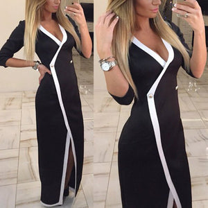 Slim Sexy V Collar Stitching Work Office Long Dress
