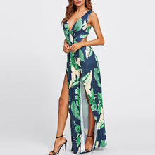 Sexy Hollow Priting Flower Slit Dress