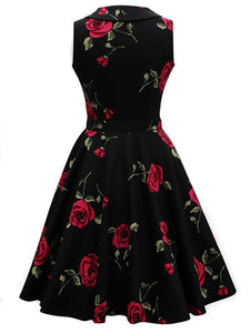 Vintage Floral Printed Belt Shawl Collar Skater Dress