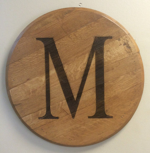 Bourbon Barrel Head with Monogram for Weddings, Anniversaries, Housewarming Gifts, Home Decor