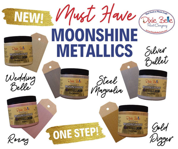 Dixie Belle Moonshine Metallics Paint | Beautiful Shimmering Paint in Gold, Steel, Silver, Ivory & Rose Hues