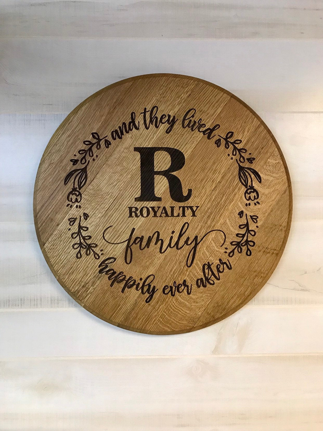 Bourbon Barrel Head to Personalize for Weddings, Anniversaries, Housewarming Gifts, Home Decor