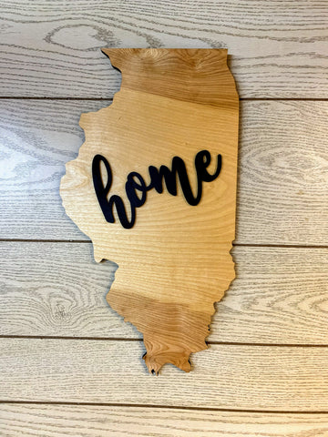 "Illinois Wood Sign - Engraving Option - 20"" x 11"""