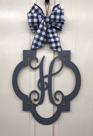 Monogram Quatrefoil Door Hanger | Gray Finish | Vine Letter |