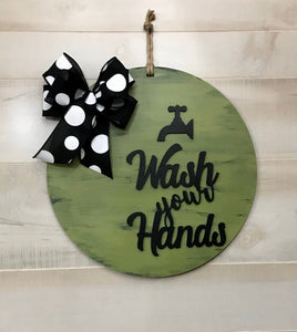 Wash your Hands Hanger | Social Distancing Door Decor | Rustic Farmhouse Door | Country Home Style Decor | Great Housewarming Gift