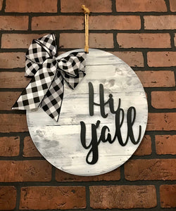 Hi Y'all Door Hanger | Rustic Gray WhiteWashed Shiplapped  | Buffalo Plaid Bow | Farmhouse Door | Country Home Style Decor