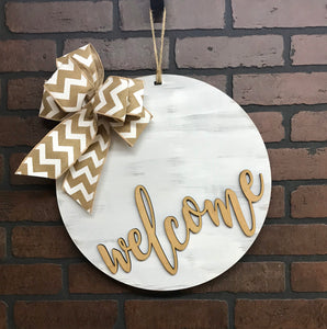 Welcome Door Hanger |  Whitewashed | Solid Round Door Sign
