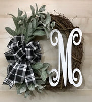 Farmhouse Wreath with Monogram | Lambs Ear Greenery | White Letter | Bow Options | Grapevine Wreath decor | Year Round Front Door Decor