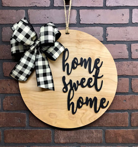 Home Sweet Home Door Hanger | Wall Decor | Housewarming | Front Door Wreath  | Year Round Decor | Farmhouse