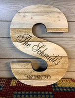 Rustic Natural Wood Letter Personalize Name Date Farmhouse Decor Shabby Chic Barn, Great Baby Gift, Nursery, Wedding, Christmas