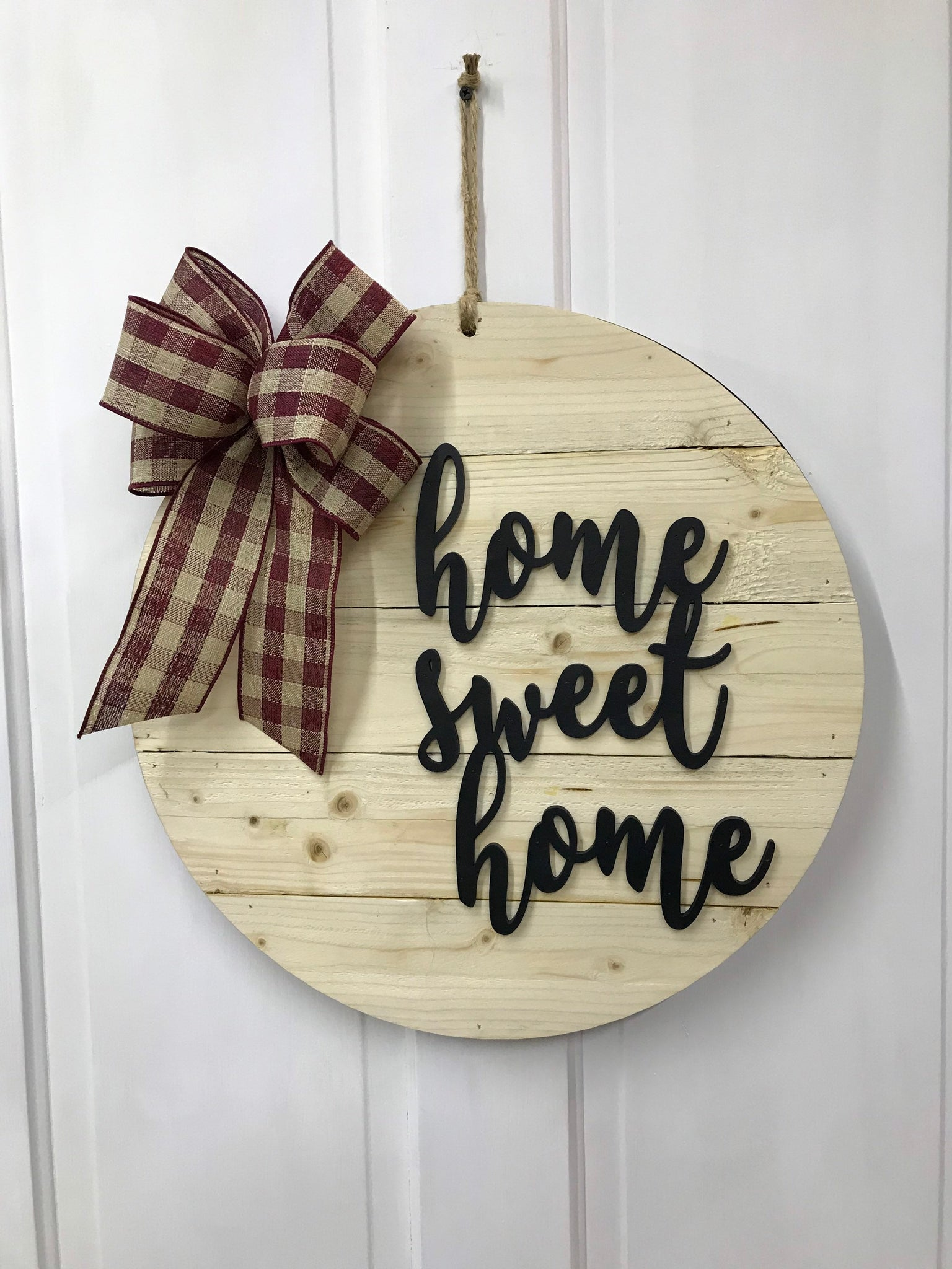 Home Sweet Home Door Hanger - Rustic Shiplapped Urban Farmhouse Wood Wall Decor - Great Housewarming Gift
