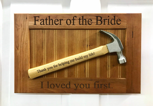 Engraved Mounted Hammer on Plaque, Customize for Dad, Father's Day, Groomsmen or Father of the Bride or Groom