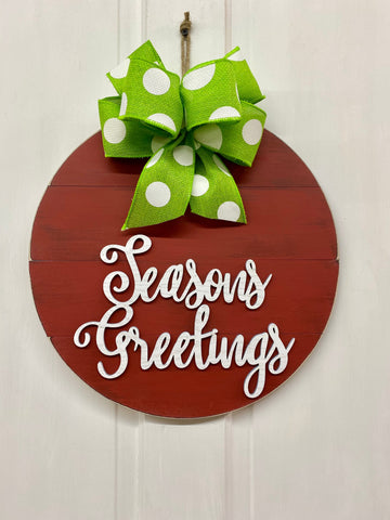 Seasons Greetings Door Hanger | Christmas Decoration | Holiday Door or Wall Decor | Farmhouse Home Wreath