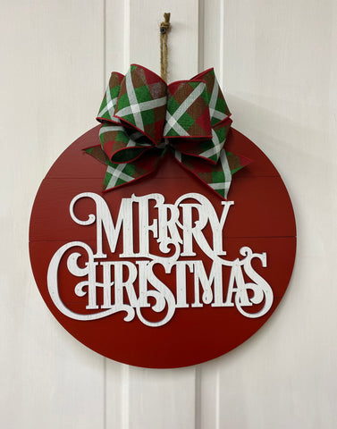 Merry Christmas Door Red Shiplap Hanger | Holiday Door or Wall Decor | Farmhouse Home Wreath