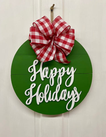 Happy Holidays Door Hanger | Christmas Decoration | Holiday Door or Wall Decor | Farmhouse Home Wreath