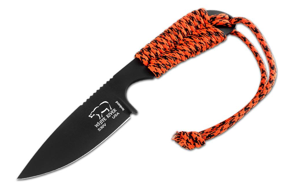 White River Backpacker, Orange Paracord Handle, Black Ionbond Coating