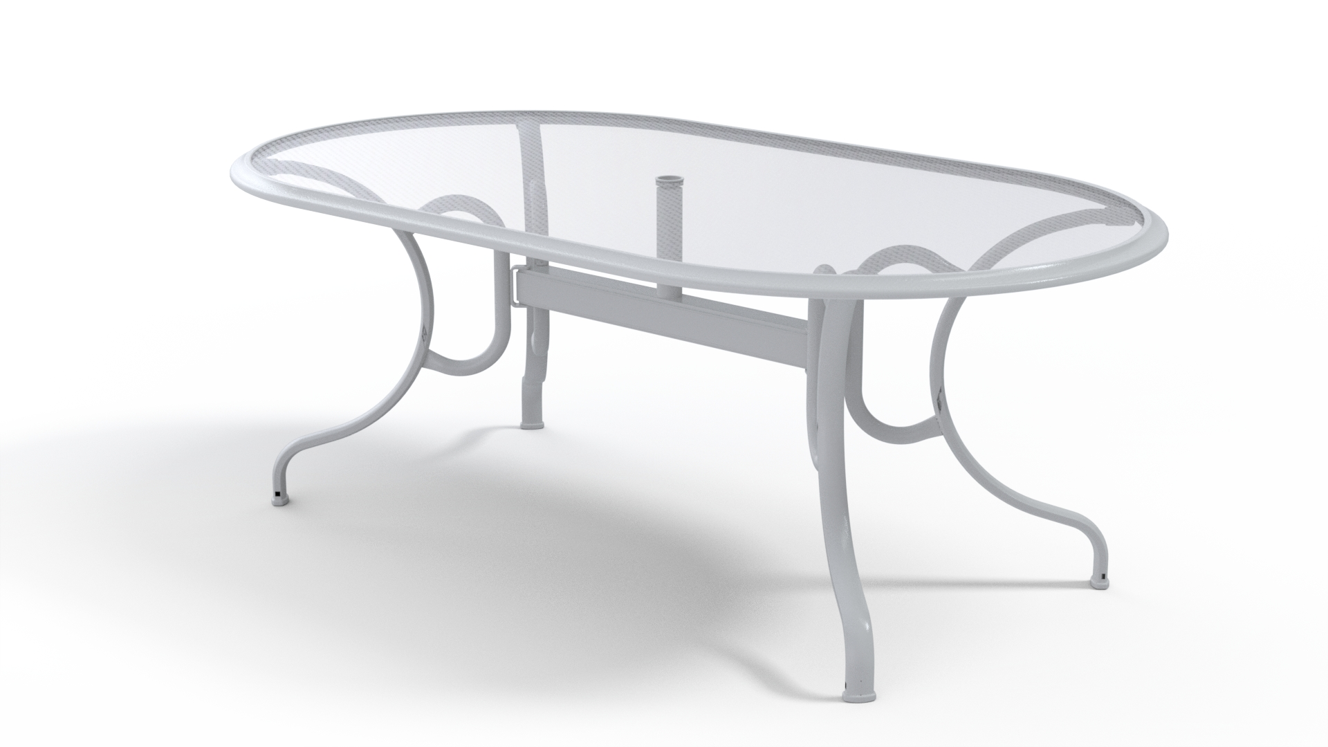 43″ x 75″ Oval Glass Top Dining Table