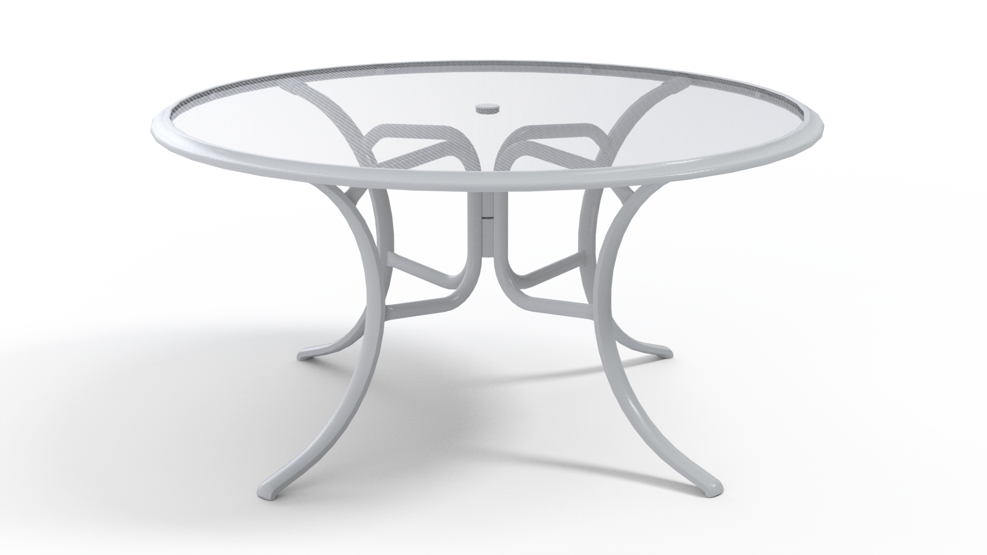 56″ Round Glass Top Dining Table
