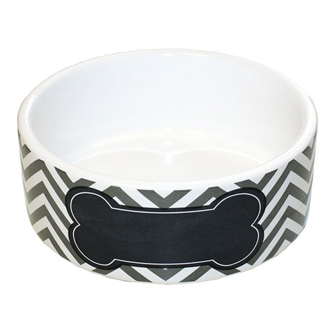 Chevron Pet Bowl Grey