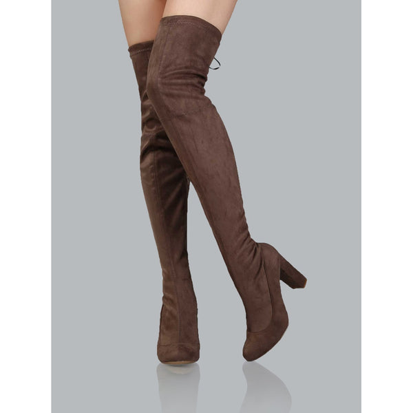 Chunky Heel Thigh High Boots TAUPE TrendSteadler