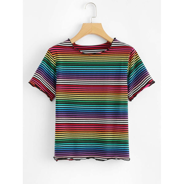 Rainbow Striped Short Sleeve T-shirt TrendSteadler