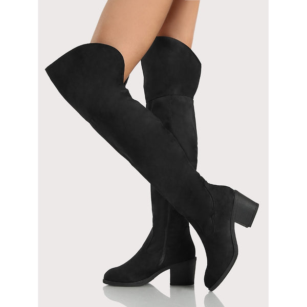 Zip Up Round Toe Faux Suede Thigh High Boots BLACK TrendSteadler