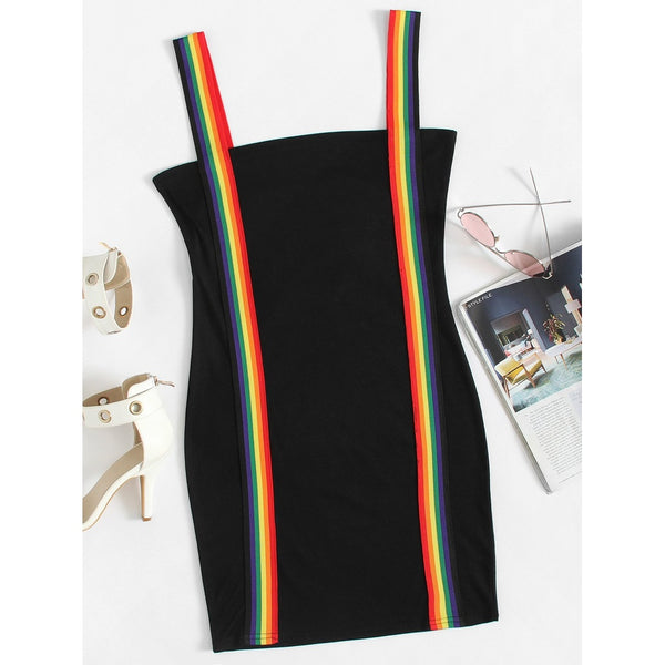 Rainbow Stripe Tape Detail Dress TrendSteadler