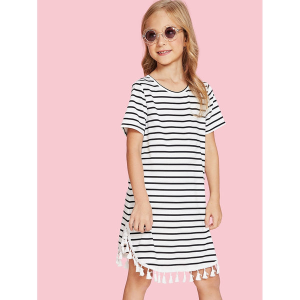 Tassel Hem Striped Dress TrendSteadler