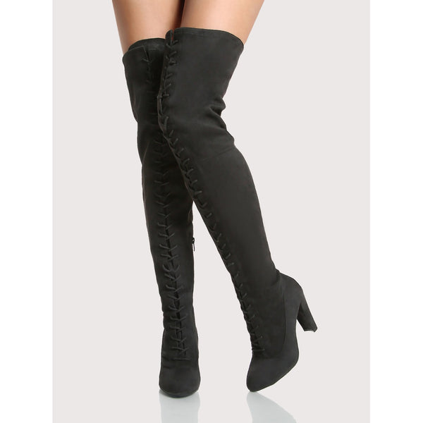 Front Lace Up Thigh High Boots BLACK TrendSteadler