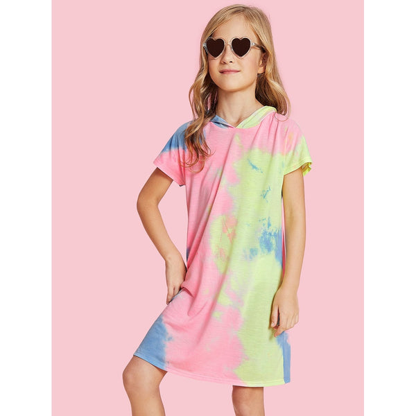 Pastel Tie Dye Hoodie Dress TrendSteadler