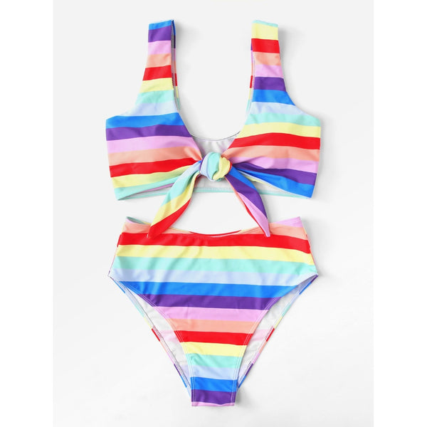 Knot Front Striped Bikini Set TrendSteadler